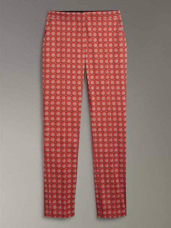 Tiled Archive Print Stretch Cotton Cigarette Trousers in Orange Red - Women | Burberry - cell image 3