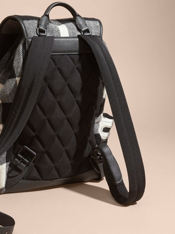 Black The Large Rucksack in Check Wool Blend and Leather Black - cell image 3