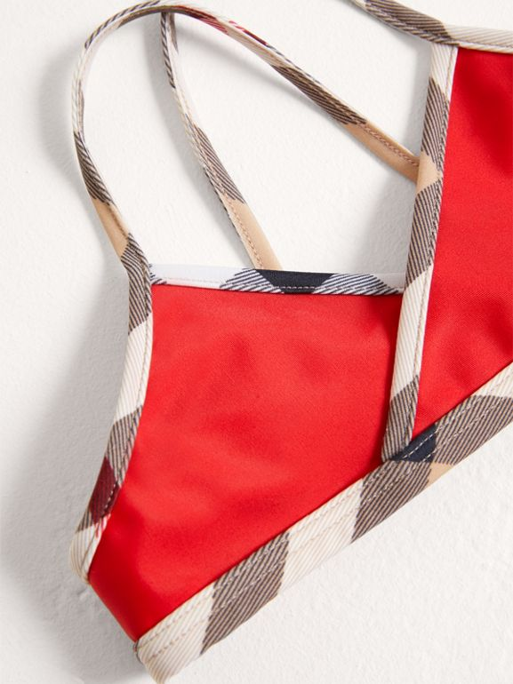 Check Trim Bikini in Poppy Red - Girl | Burberry - cell image 1