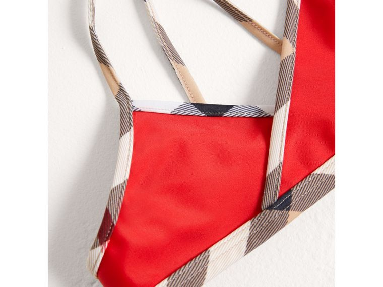 Check Trim Bikini in Poppy Red - Girl | Burberry Australia - cell image 1