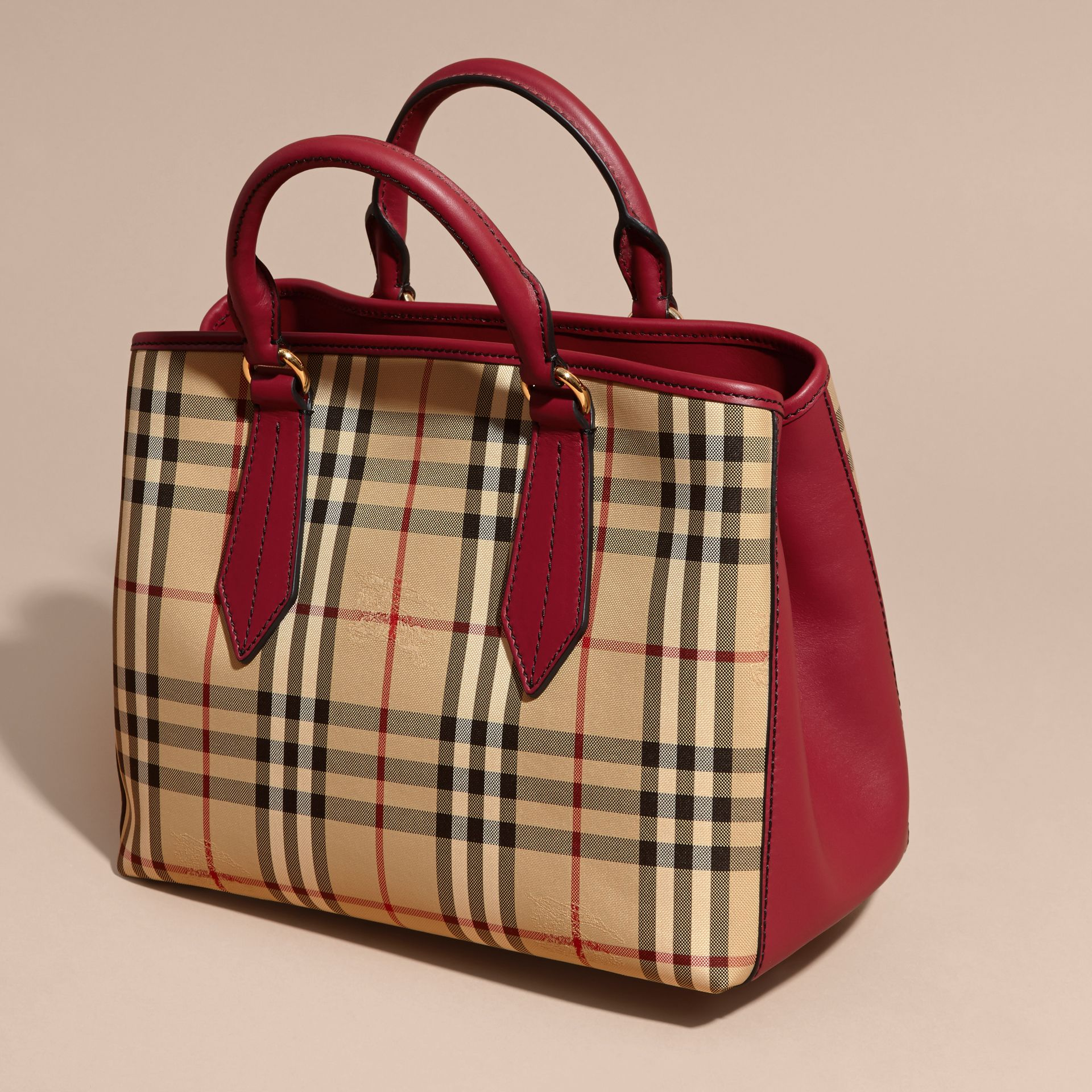 Leather Trim Horseferry Check Tote in Honey/parade Red - gallery image 8