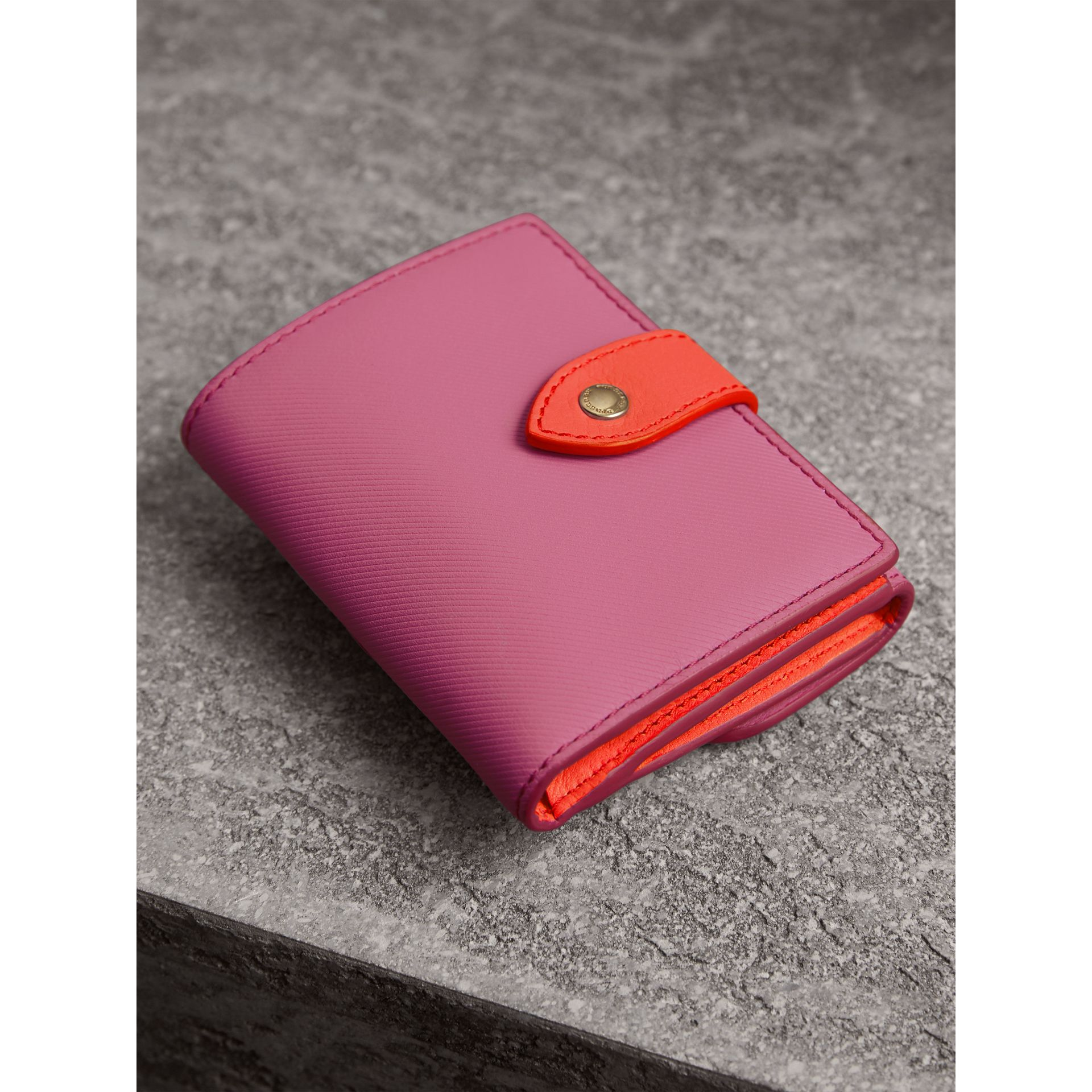 Trench Leather Wallet in Rose Pink - Women | Burberry Australia - gallery image 2