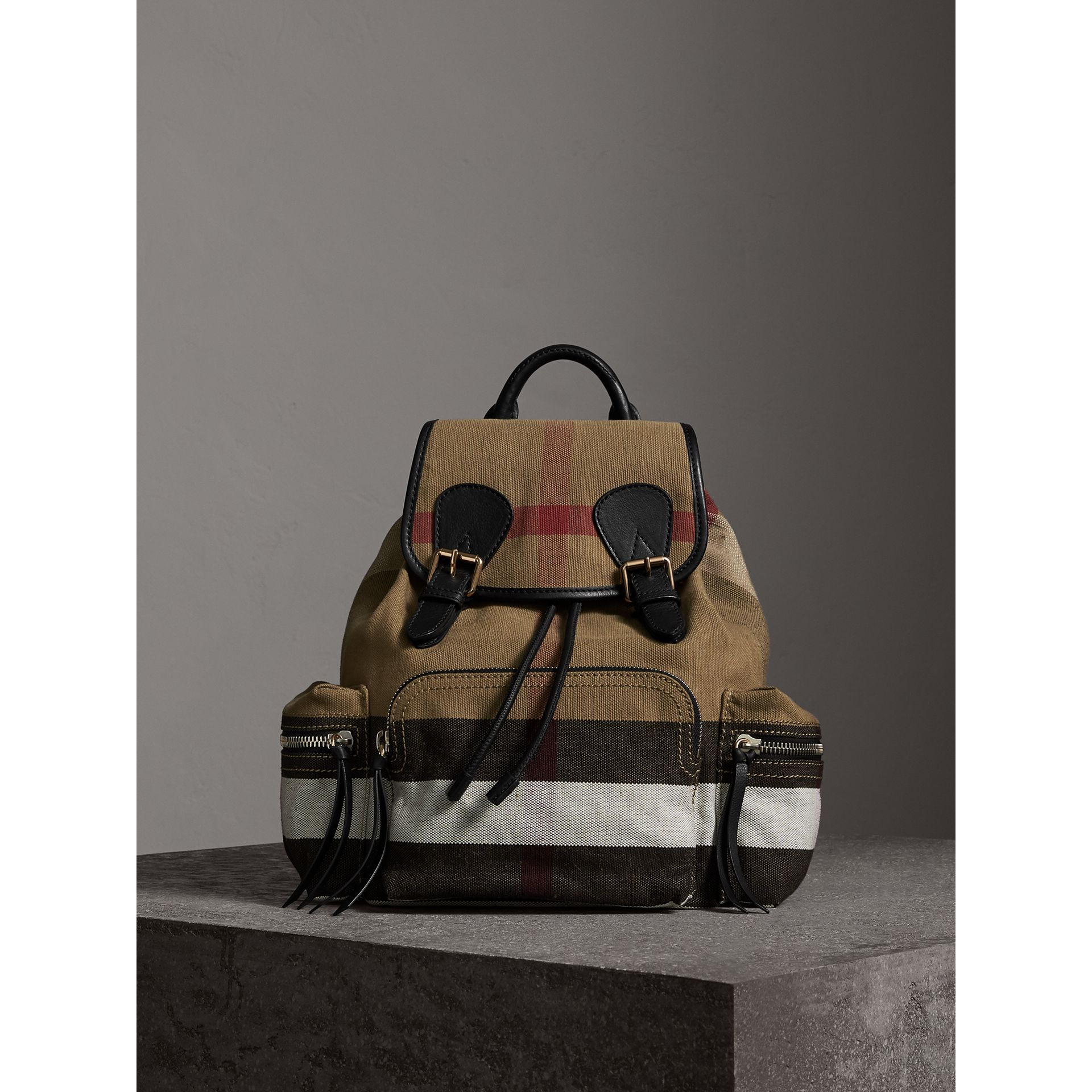 The Medium Rucksack in Canvas Check and Leather in Black - Women | Burberry Singapore - gallery image 1