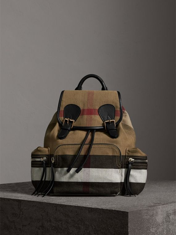 The Medium Rucksack in Canvas Check and Leather in Black