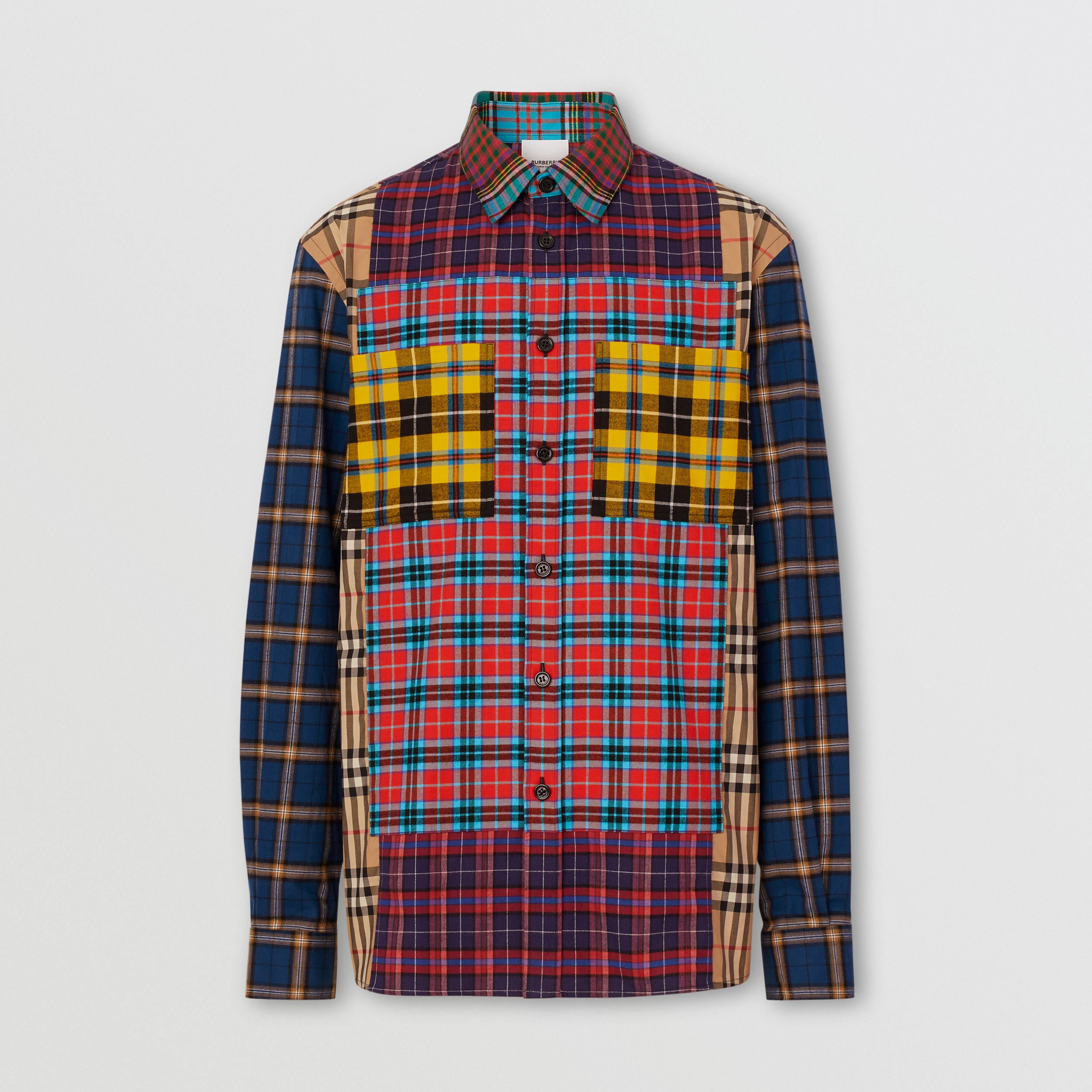 Patchwork Check Cotton Oversized Shirt in Navy - Men | Burberry - 4