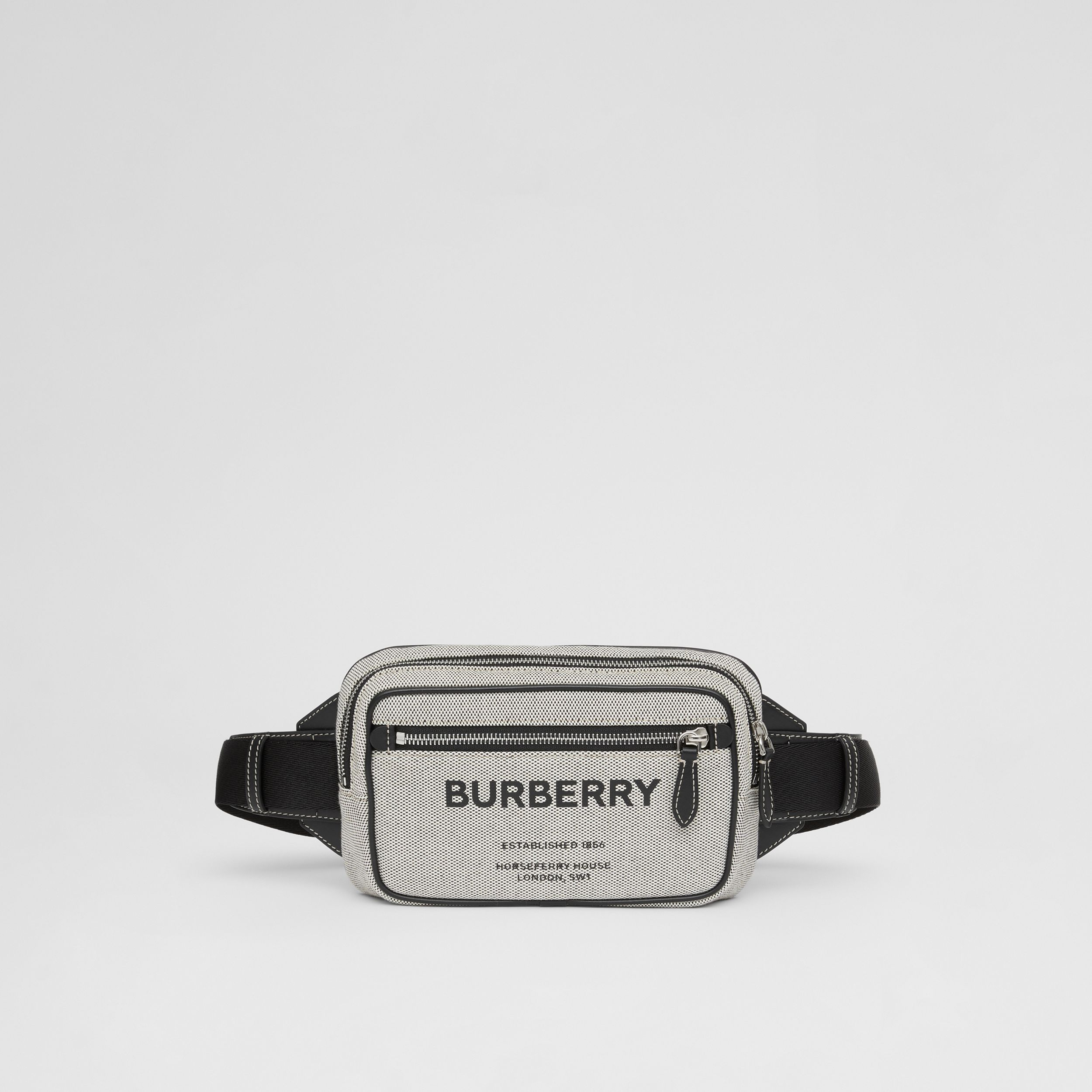 Horseferry Print Cotton Canvas Bum Bag in Black - Men | Burberry - 1
