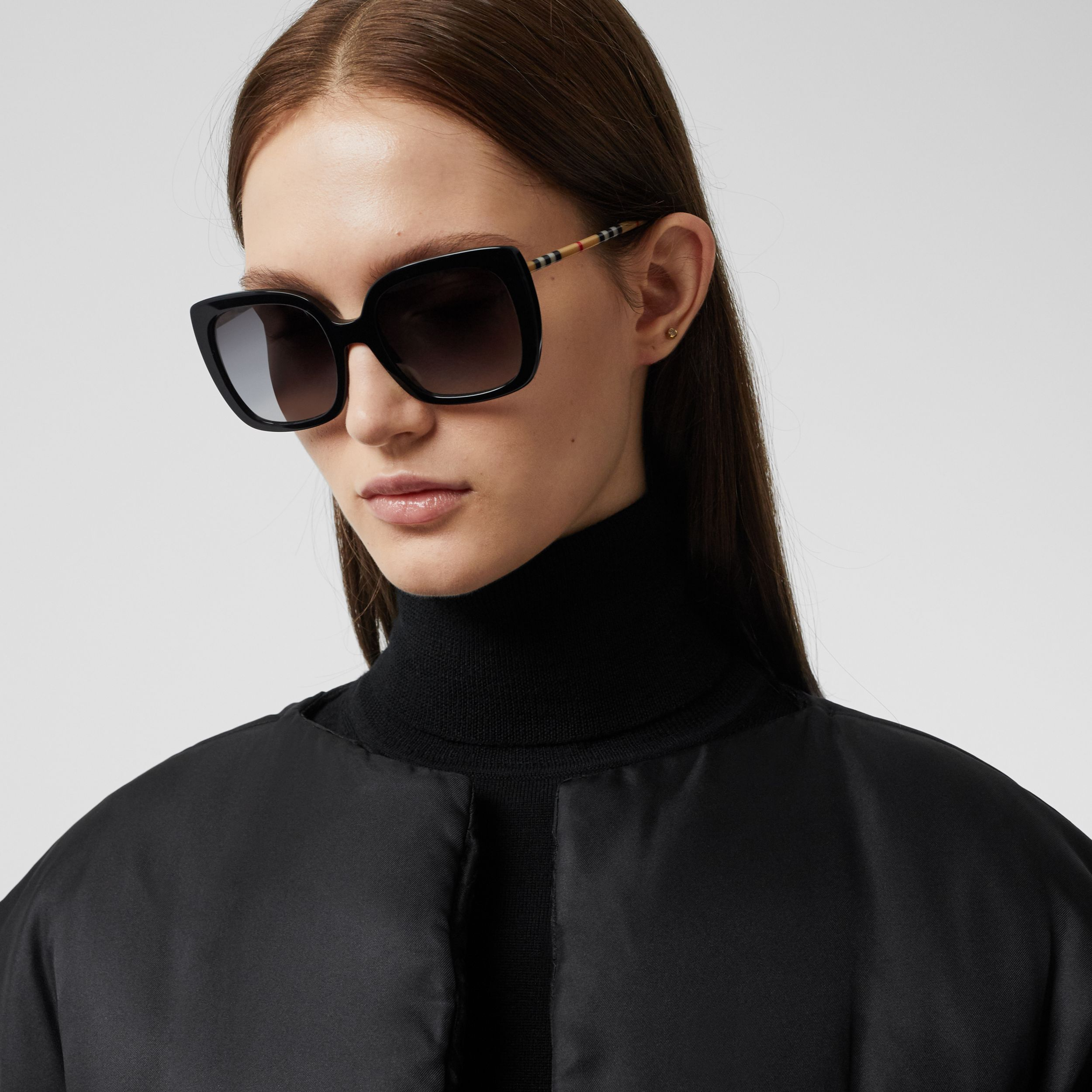 Silk Twill Puffer Cape in Black - Women | Burberry United Kingdom - 2