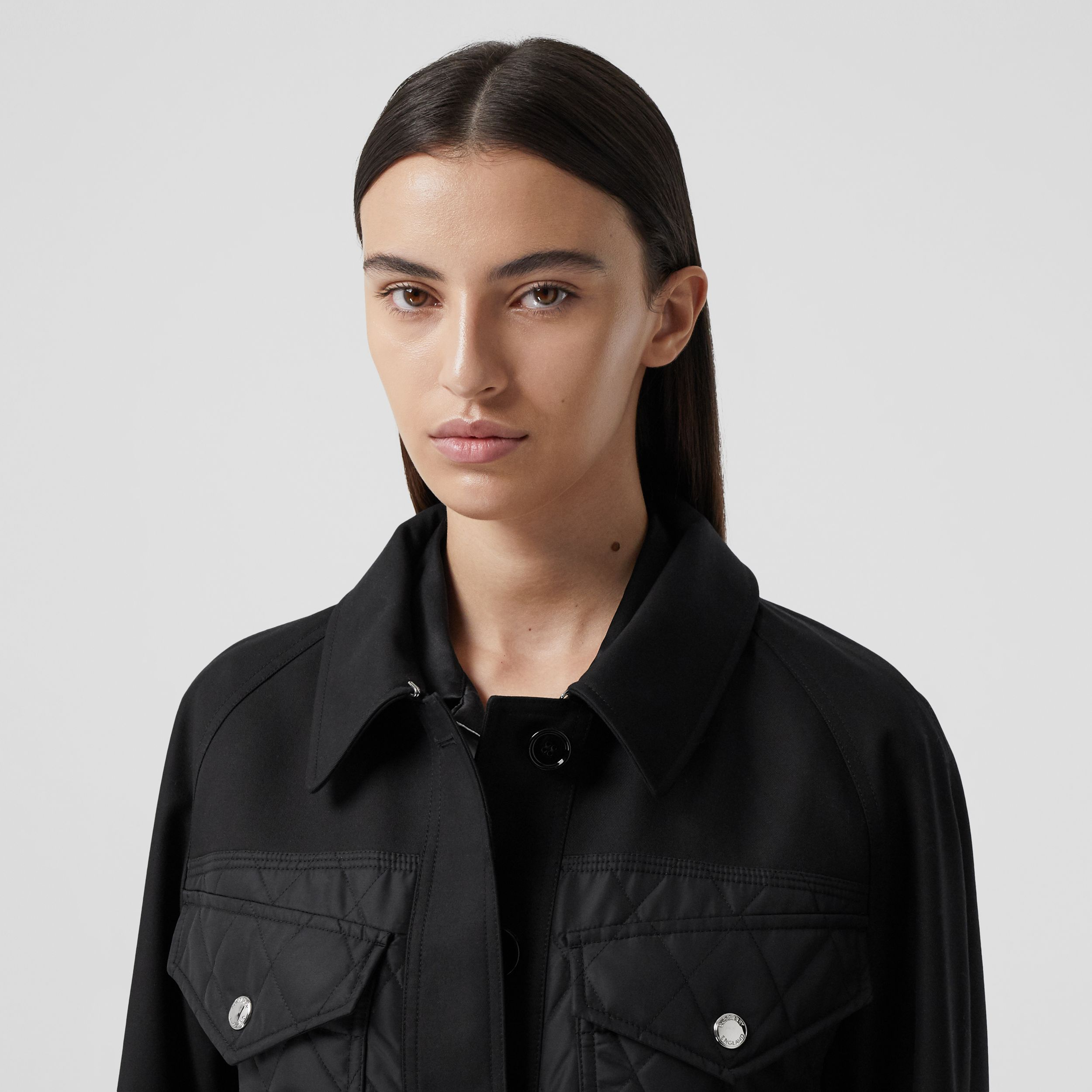 Diamond Quilted Panel Cotton Gabardine Car Coat in Black - Women | Burberry Australia - 2