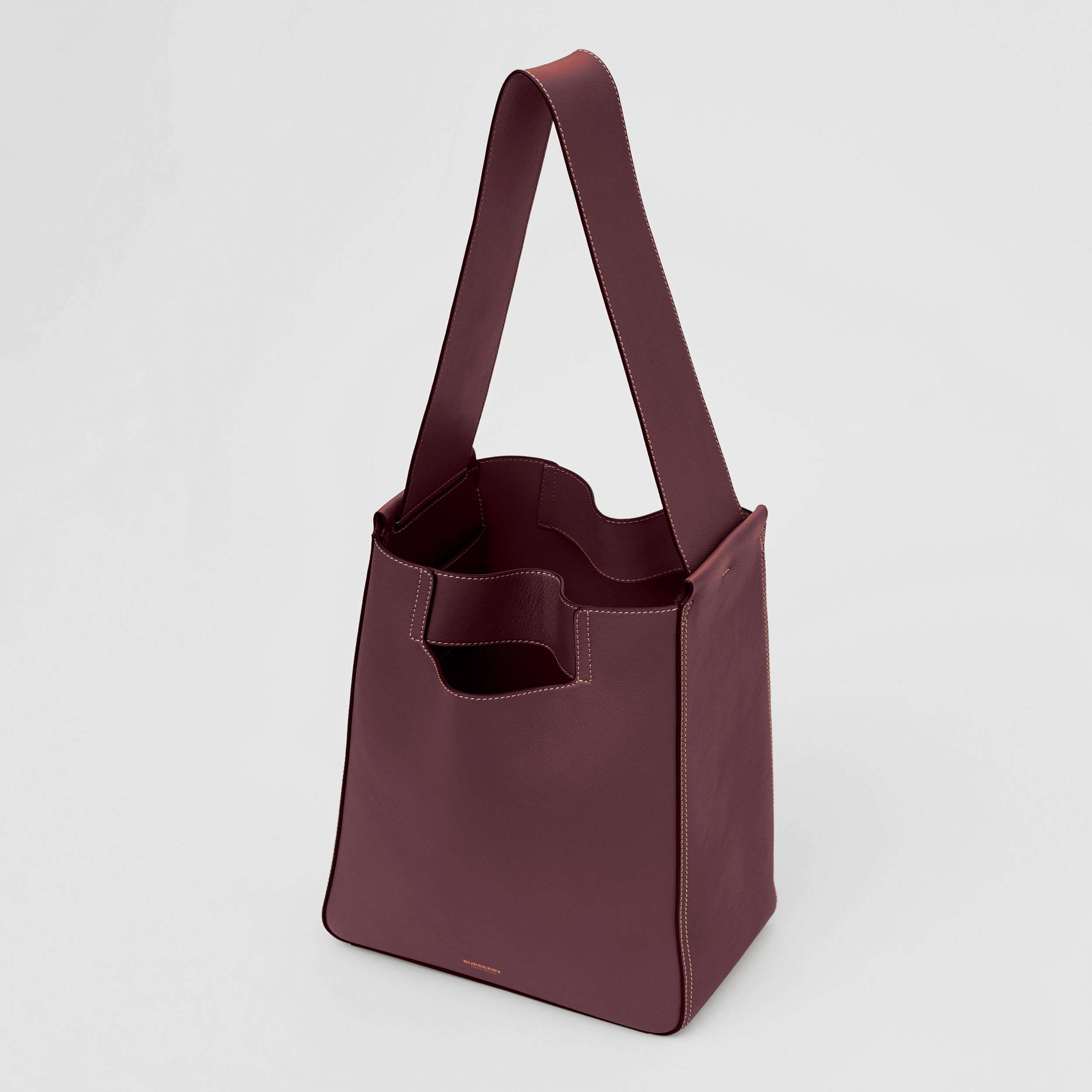Large Leather Basket Bag in Deep Claret - Women | Burberry - 4