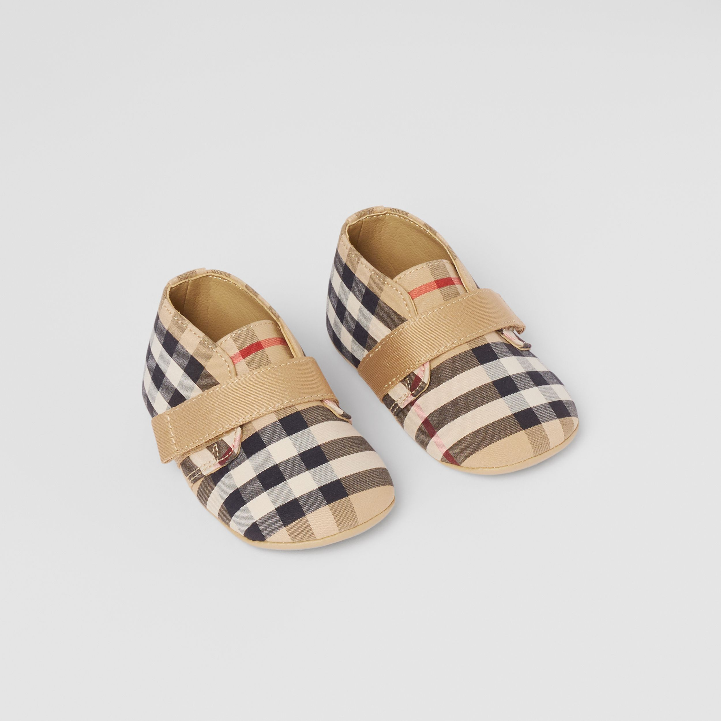 Vintage Check Cotton Booties in Archive Beige - Children | Burberry - 1