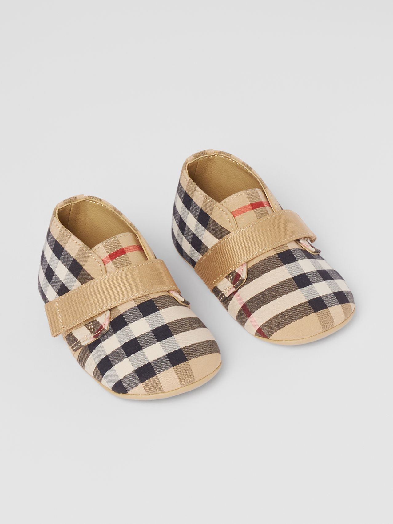 Chaussons en coton Vintage check in Beige D'archive