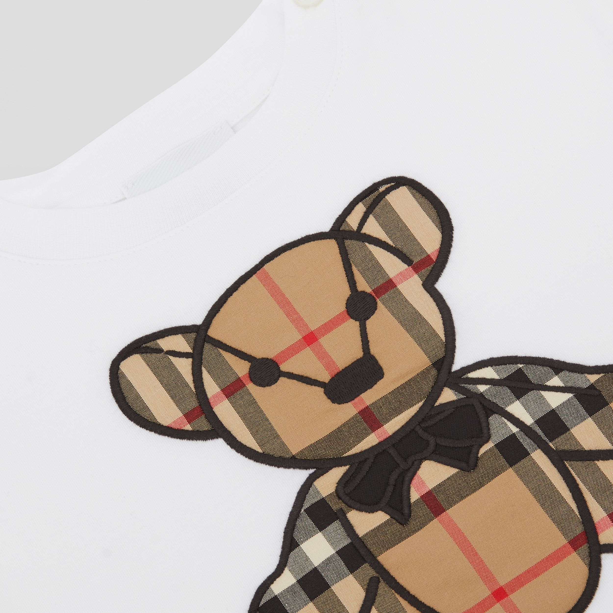 Thomas Bear Appliqué Cotton All-in-one in White - Children | Burberry - 2
