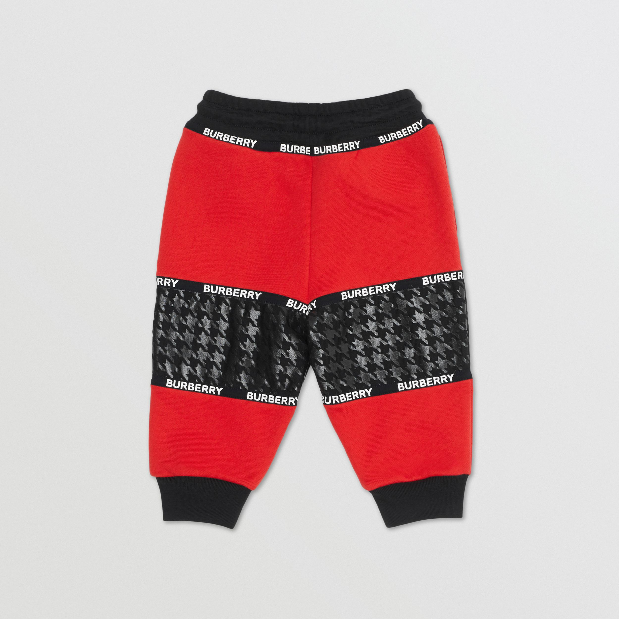 Houndstooth Check Panel Cotton Jogging Pants in Bright Red - Children | Burberry - 4