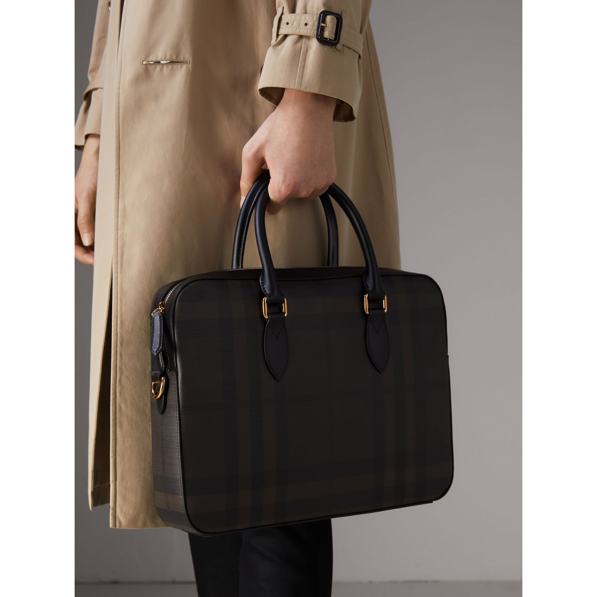 Medium Leather Trim London Check Briefcase in Chocolate/black - Men | Burberry - gallery image 4