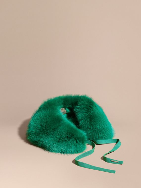 Fox Fur Collar with Check Cashmere Lining Emerald