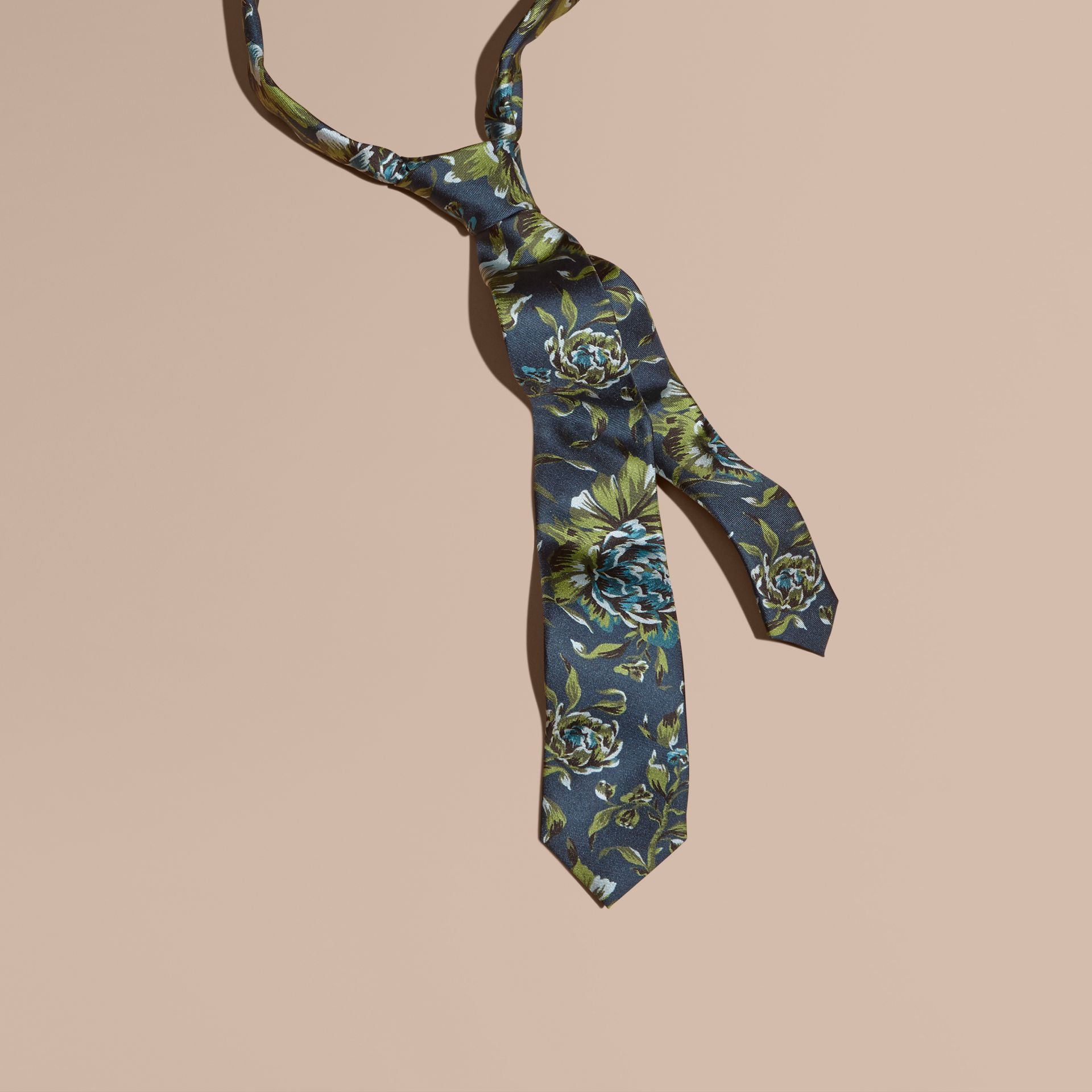Dark teal green Slim Cut Peony Rose Print Silk Tie Dark Teal Green - gallery image 1