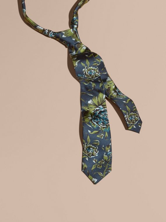 Slim Cut Peony Rose Print Silk Tie Dark Teal Green