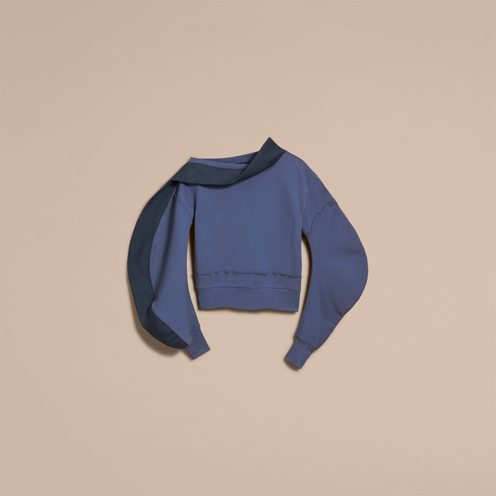 Sculptured-sleeve Asymmetric Sweatshirt Pewter Blue - gallery image 4