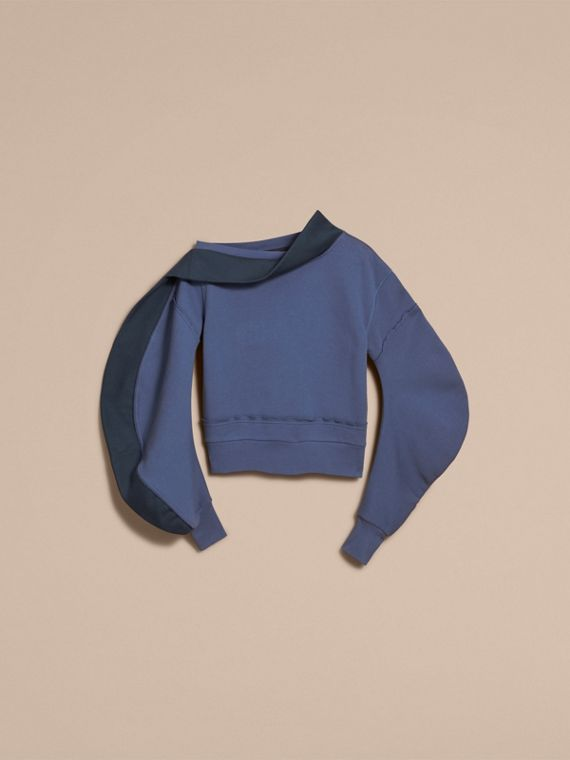 Sculptured-sleeve Asymmetric Sweatshirt Pewter Blue - cell image 3