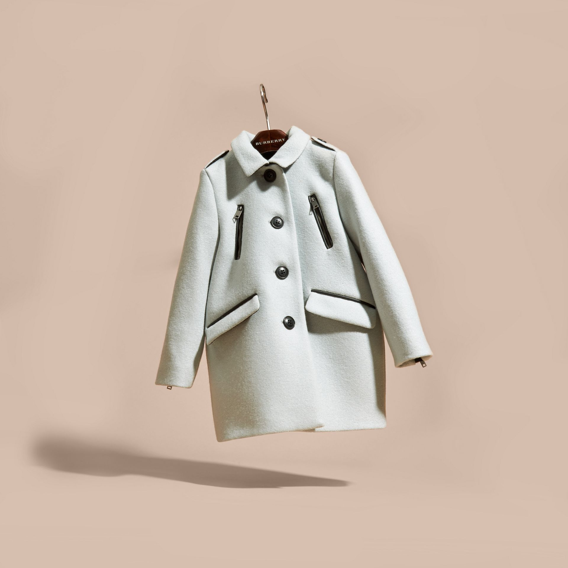 Zip Detail Wool Coat in Pale Eucalyptus - gallery image 3
