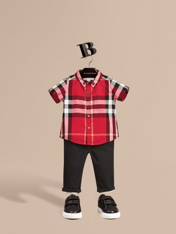 Check Cotton Twill Shirt Parade Red
