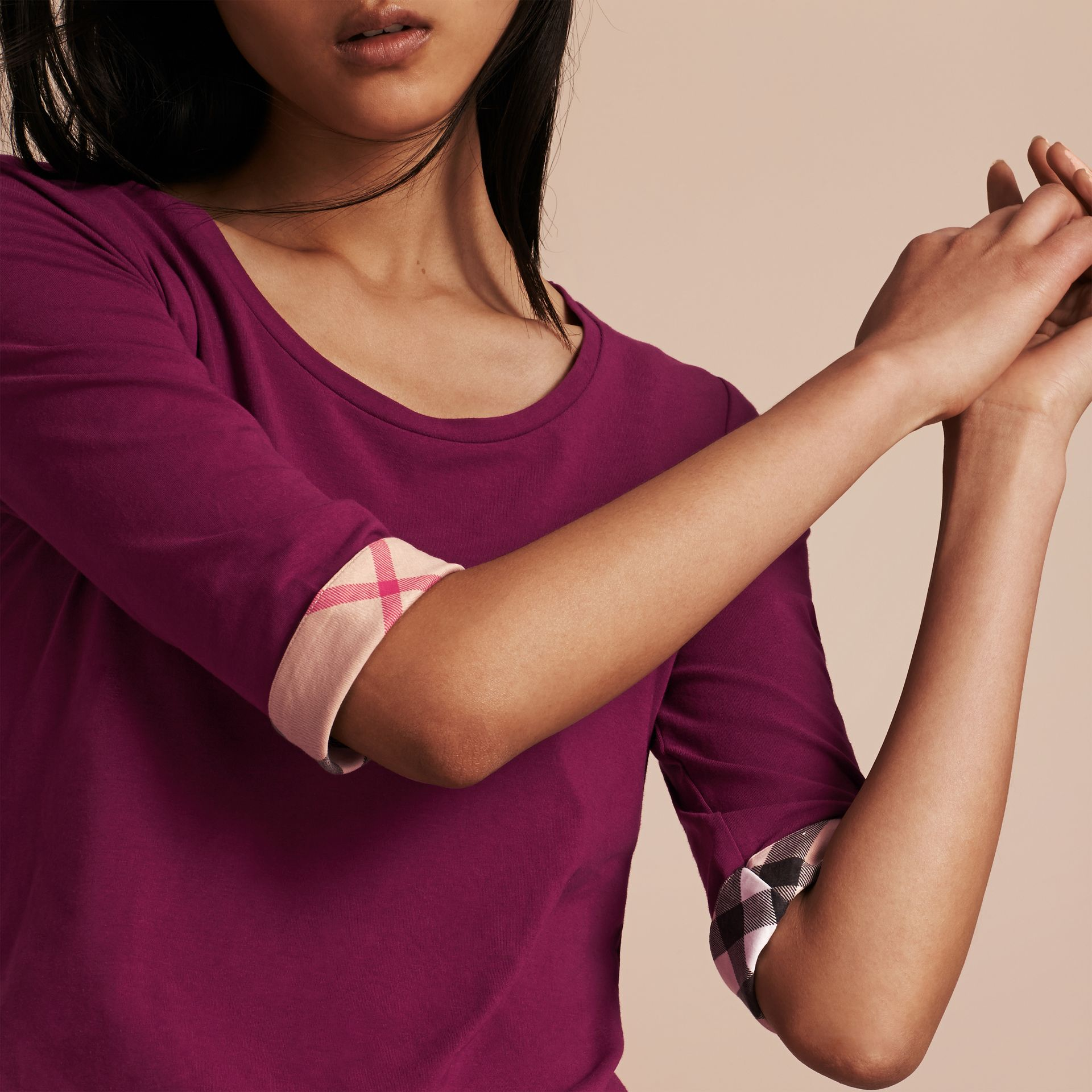 Check Cuff Stretch-Cotton Top Magenta Pink - gallery image 5