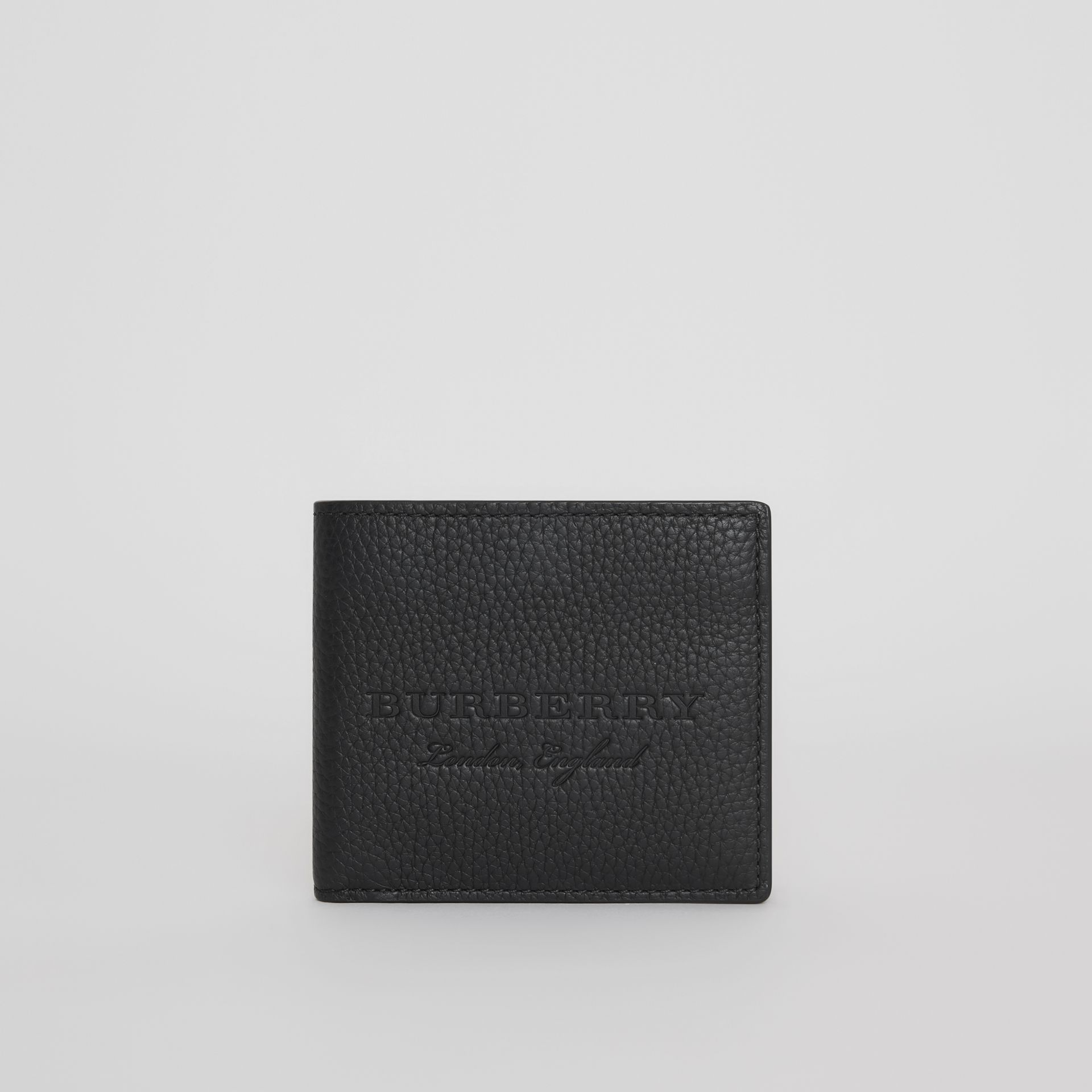 Embossed Leather Bifold Wallet in Black - Men | Burberry Australia - gallery image 2