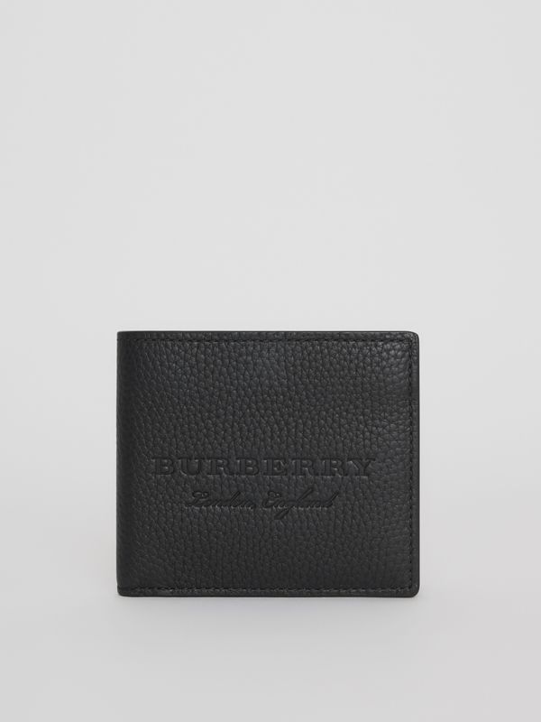 Embossed Leather Bifold Wallet in Black - Men | Burberry Australia - cell image 2