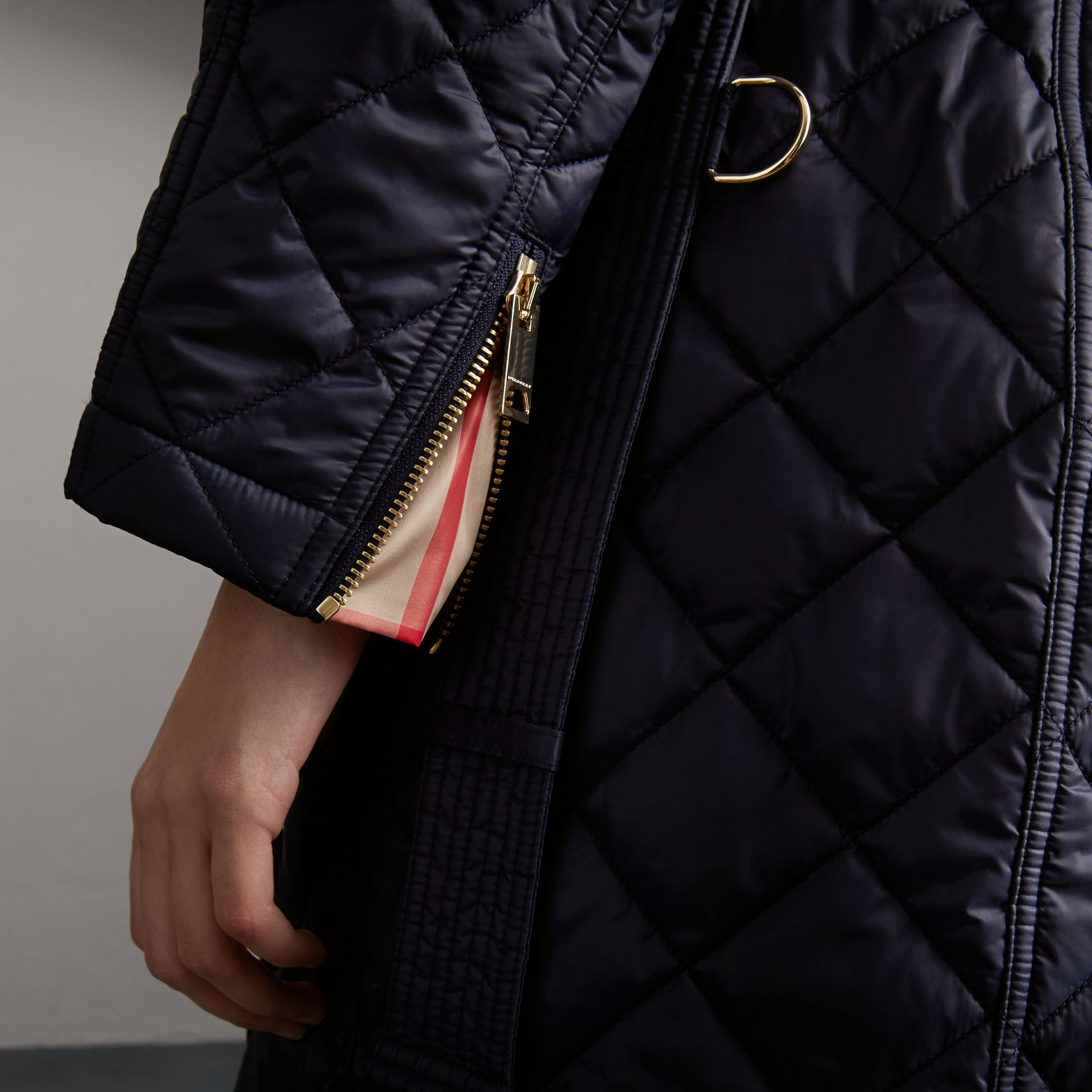 Detachable Hood Quilted Showerproof Parka in Ink - Women | Burberry - gallery image 5