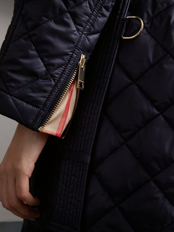 Detachable Hood Quilted Showerproof Parka in Ink - Women | Burberry - cell image 3