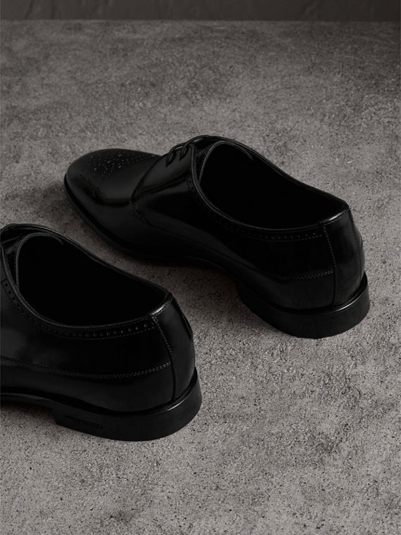 Perforated Detail Leather Derby Shoes in Black - Men | Burberry United Kingdom - cell image 2