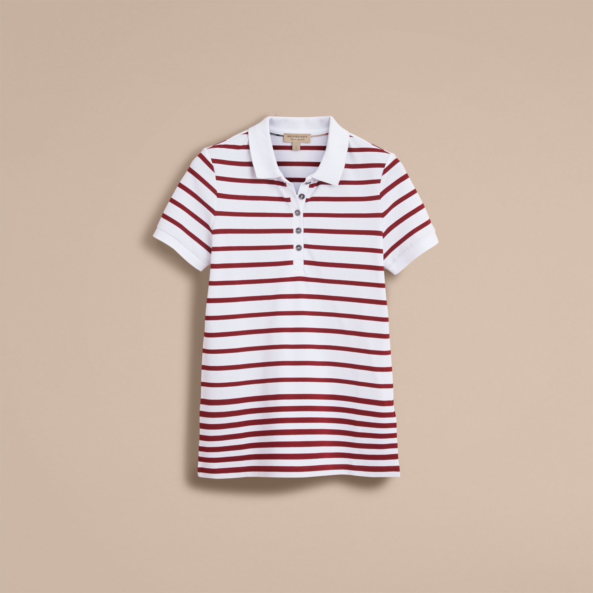 Striped Stretch Cotton Piqué Polo Shirt in White/parade Red - Women | Burberry - gallery image 4