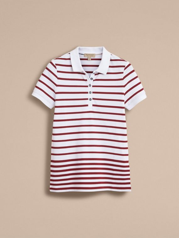 Striped Stretch Cotton Piqué Polo Shirt in White/parade Red - Women | Burberry - cell image 3