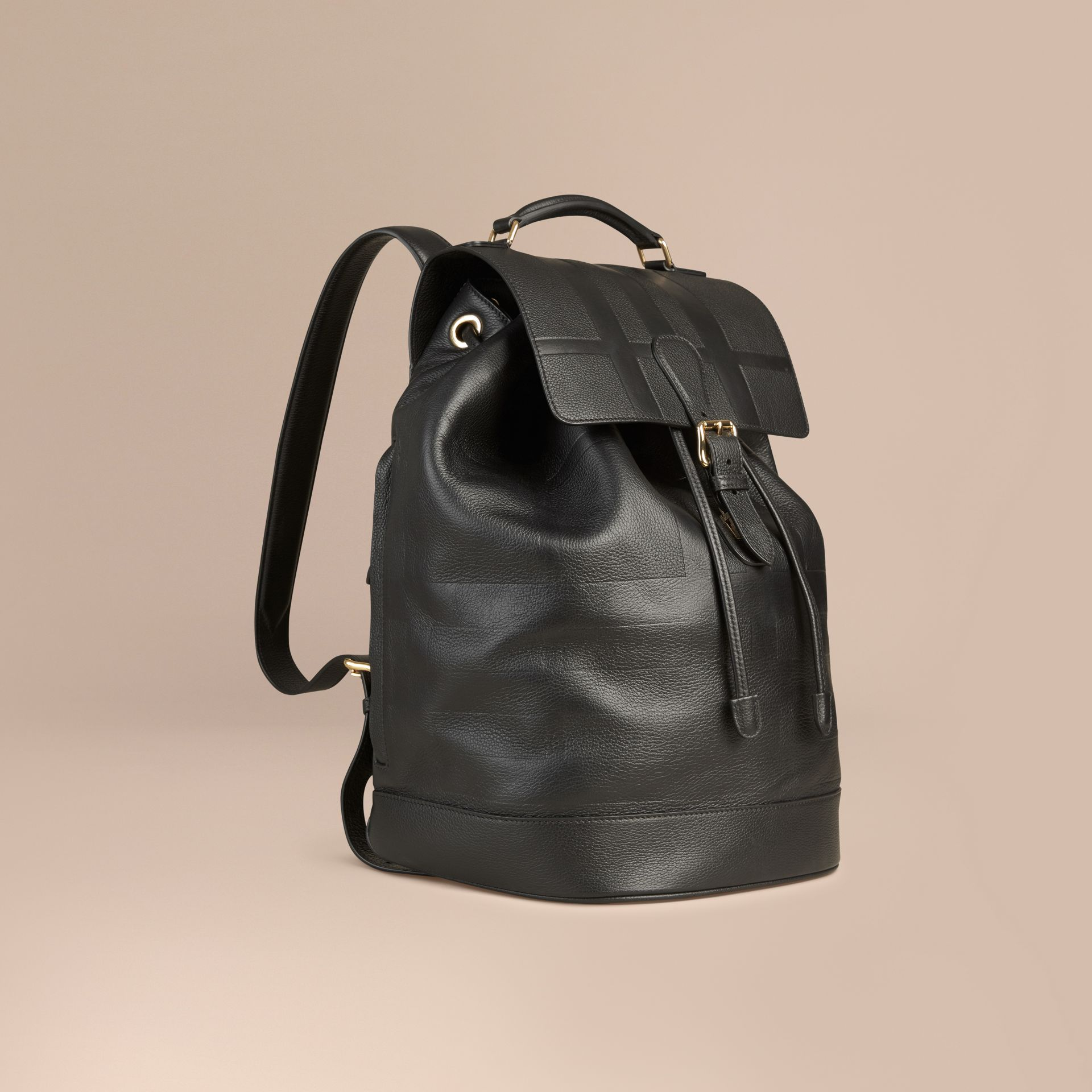 Black Check Embossed Leather Backpack - gallery image 1