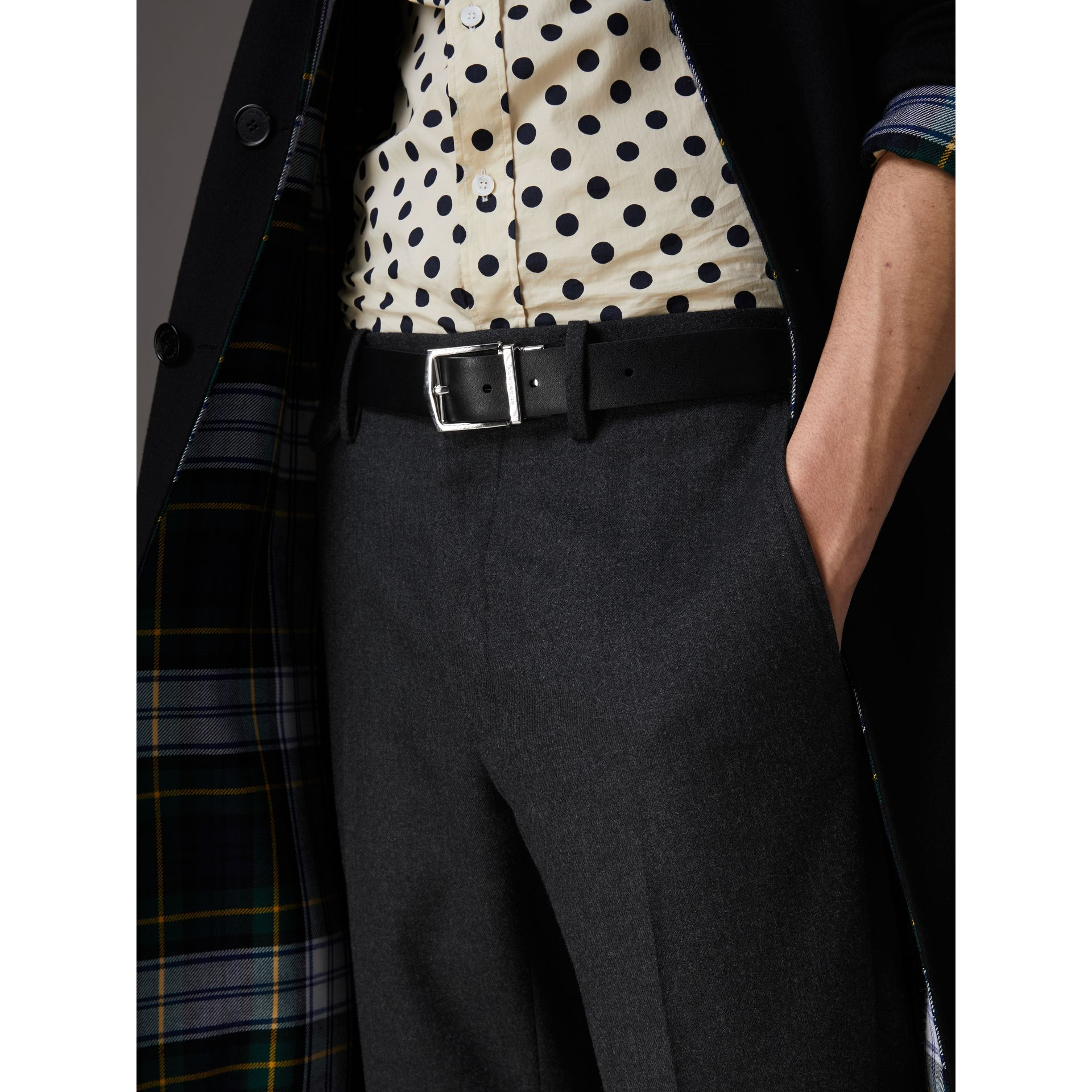 Reversible Embossed Check Leather Belt in Black - Men | Burberry - gallery image 3