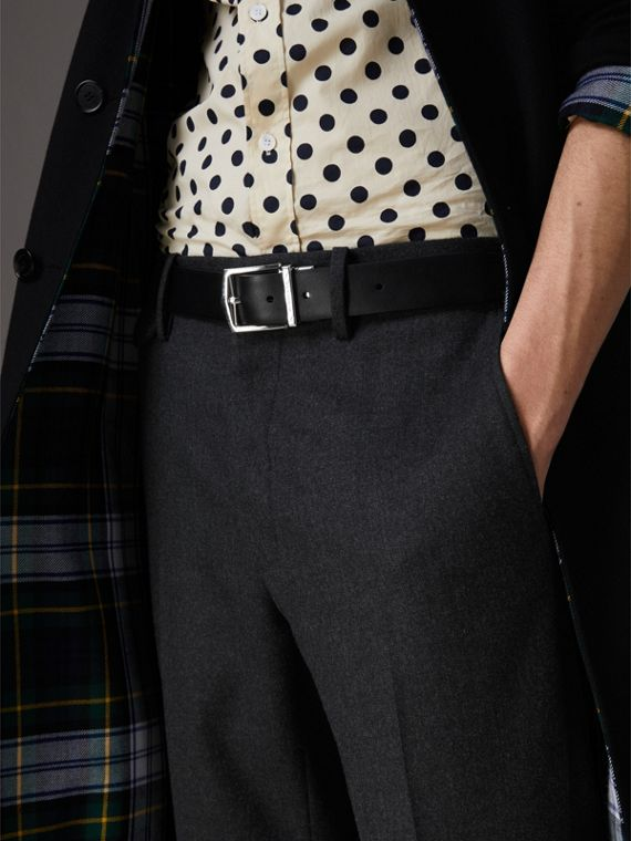 Reversible Embossed Check Leather Belt in Black - Men | Burberry Australia - cell image 3