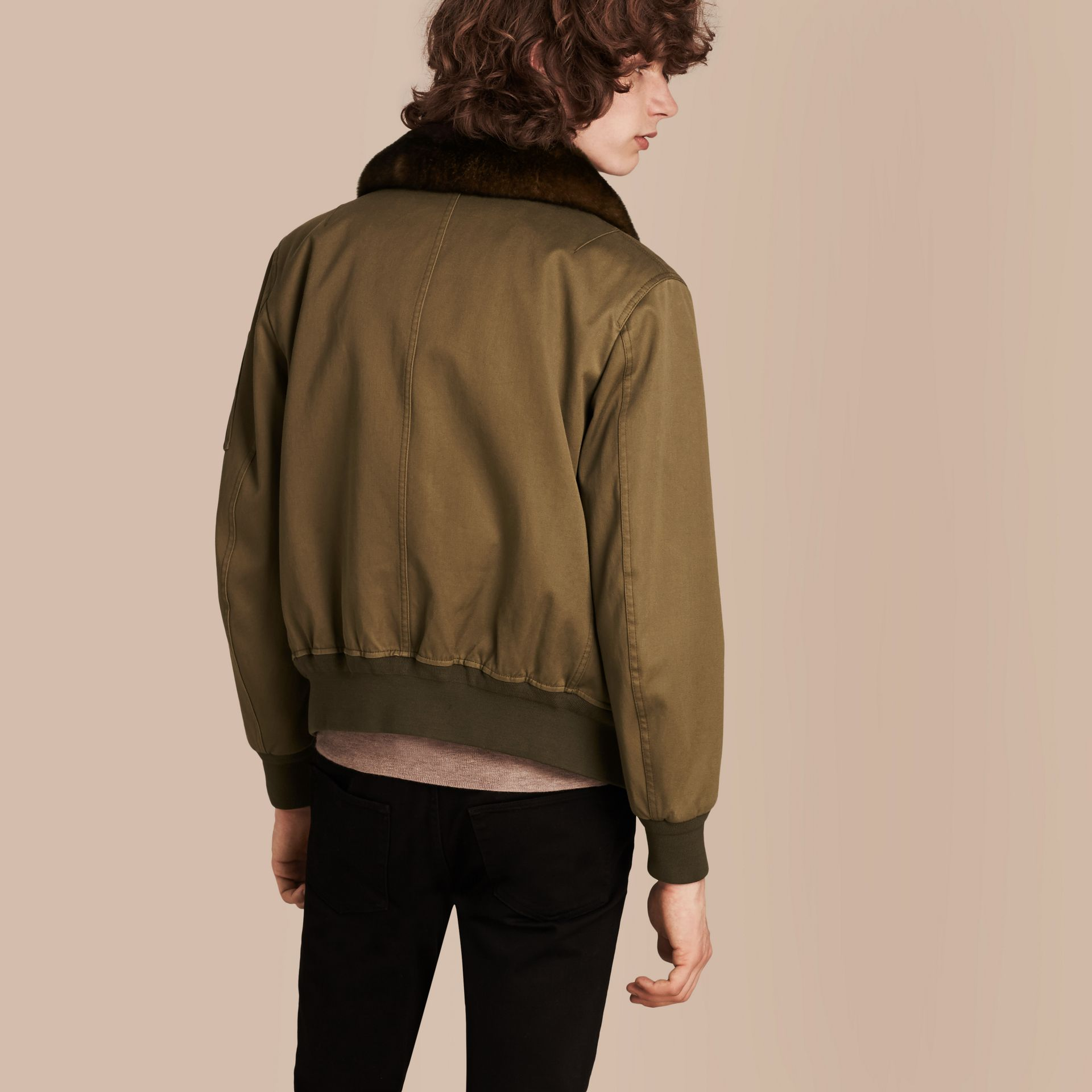 Olive green Cotton Bomber Jacket with Detachable Fur-lined Warmer - gallery image 3