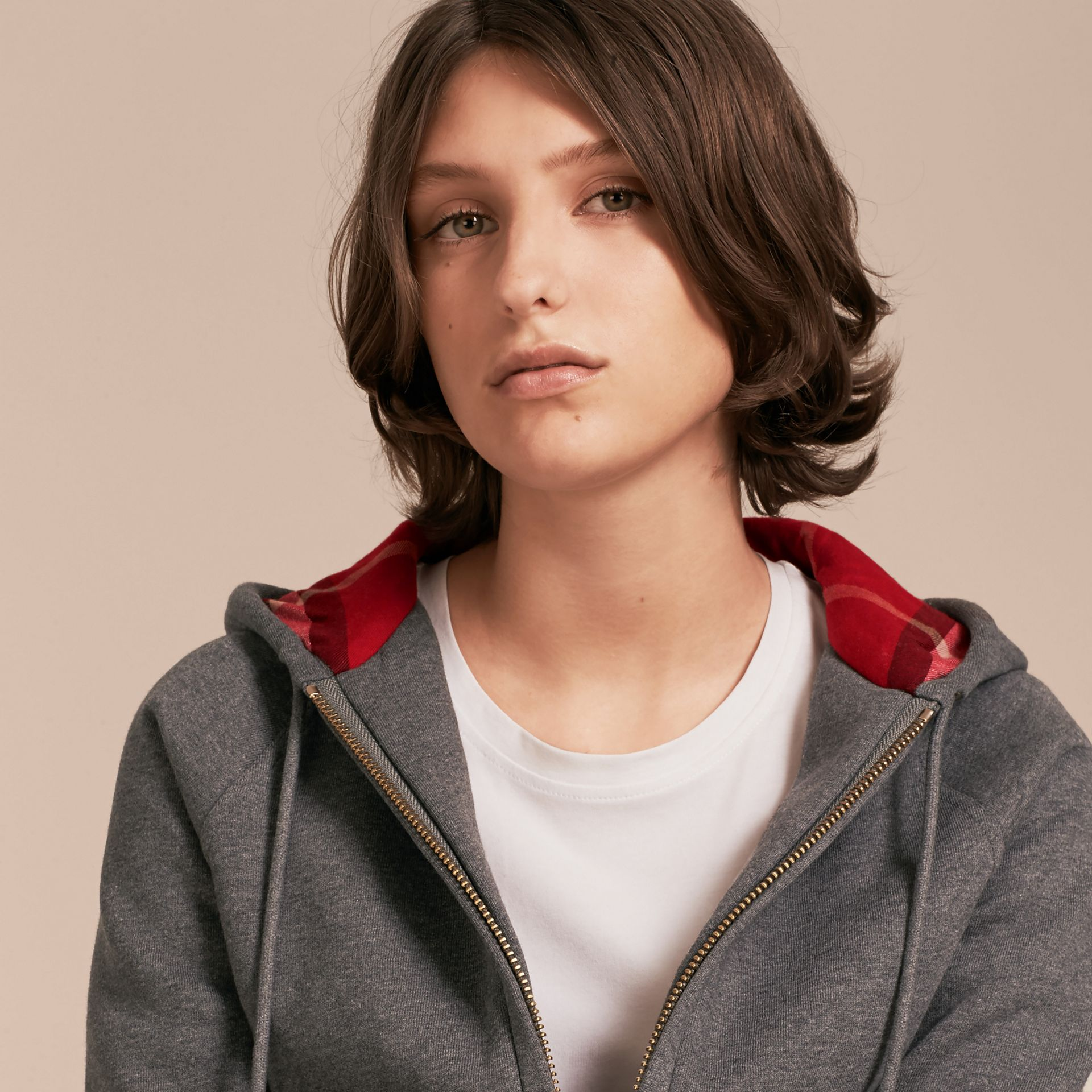 Hooded Zip-front Cotton Blend Sweatshirt in Mid Grey Melange - gallery image 5