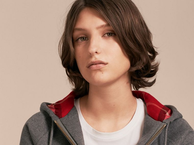 Hooded Zip-front Cotton Blend Sweatshirt in Mid Grey Melange - Women | Burberry - cell image 4