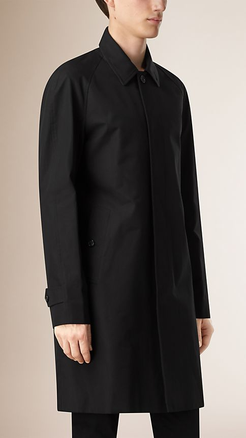 Black Cotton Gabardine Car Coat - Image 2
