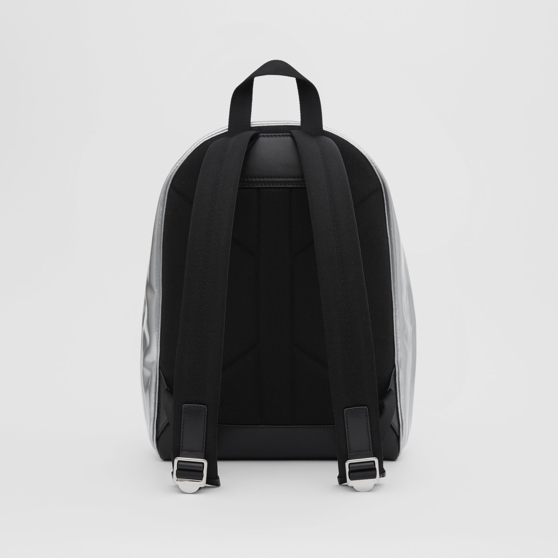 Metallic Coated Canvas Backpack in Silver   Burberry United States - gallery image 7