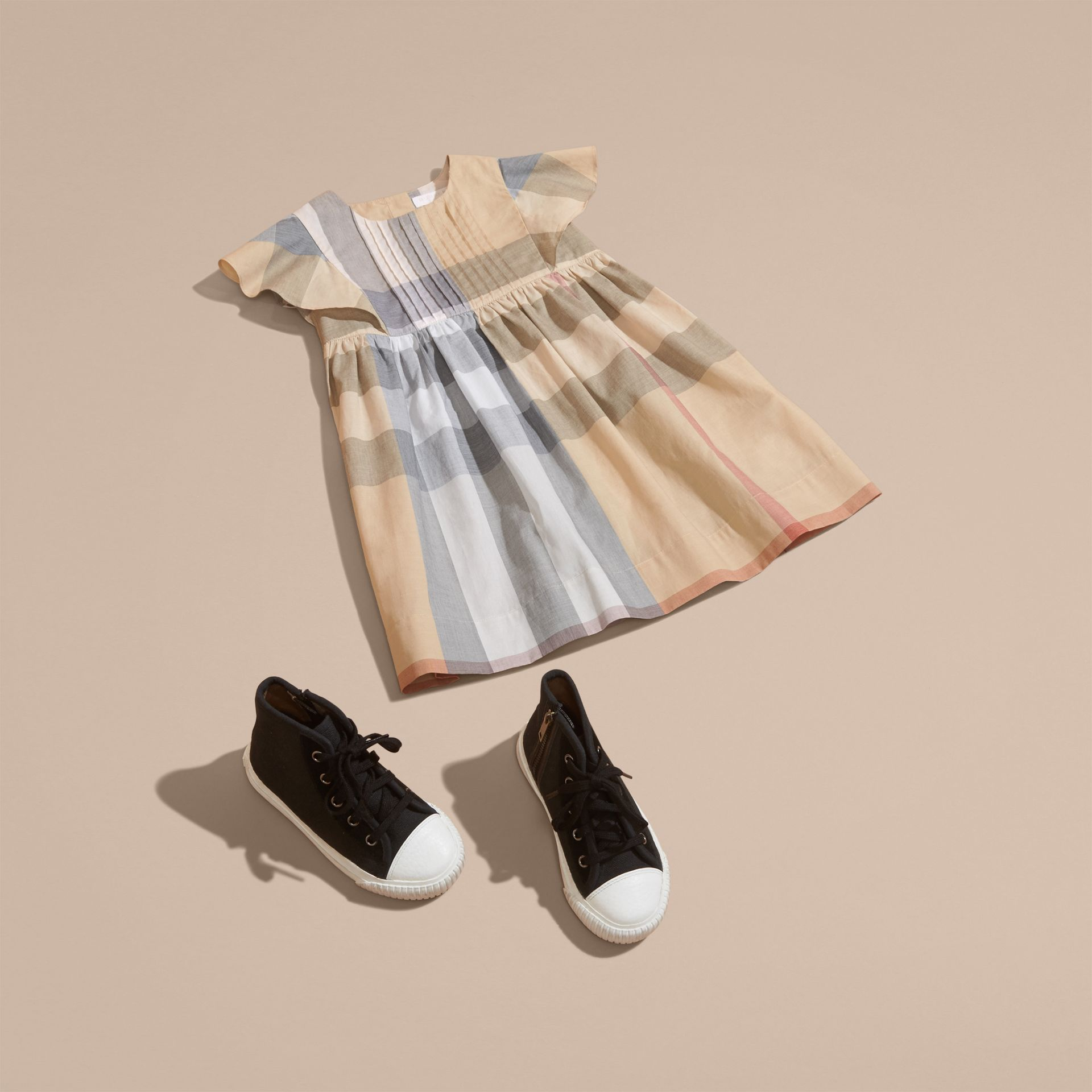 Ruffle Detail Check Cotton Dress in Pale Stone - Girl | Burberry Australia - gallery image 5