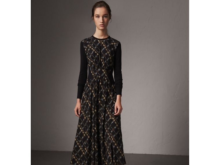 Long-sleeve Lattice Floral Print Silk Gathered Dress in Black - Women | Burberry - cell image 4