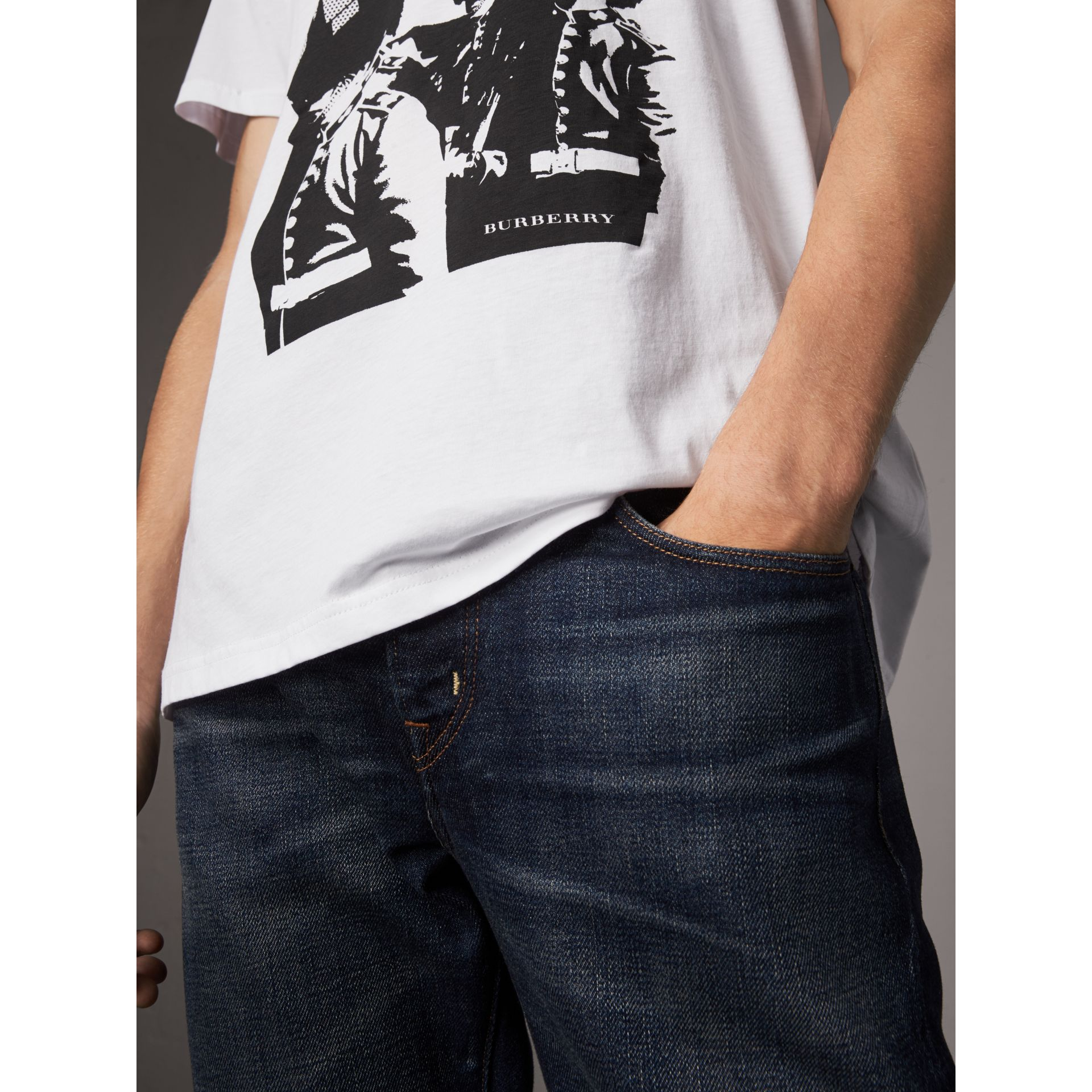 London Icons Print Cotton T-shirt in White - Men | Burberry United States - gallery image 1