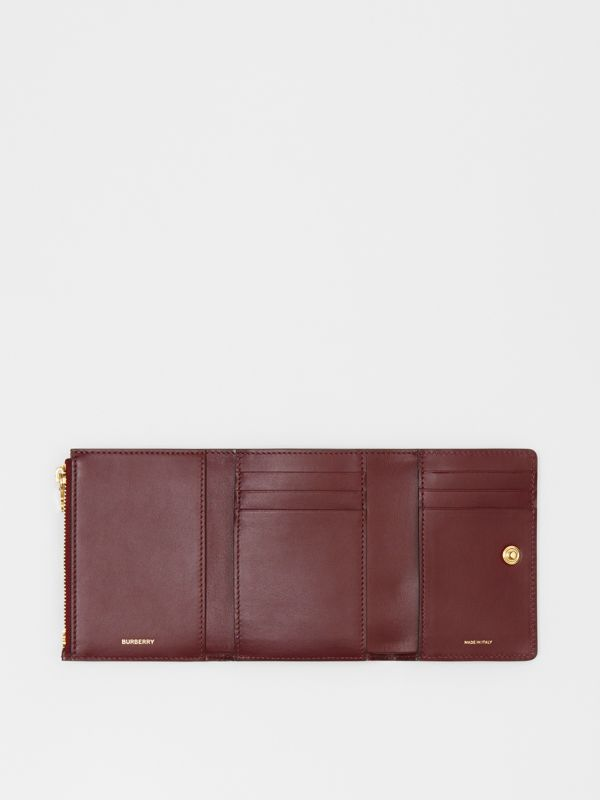 Small Monogram Leather Folding Wallet in Oxblood - Women | Burberry - cell image 2