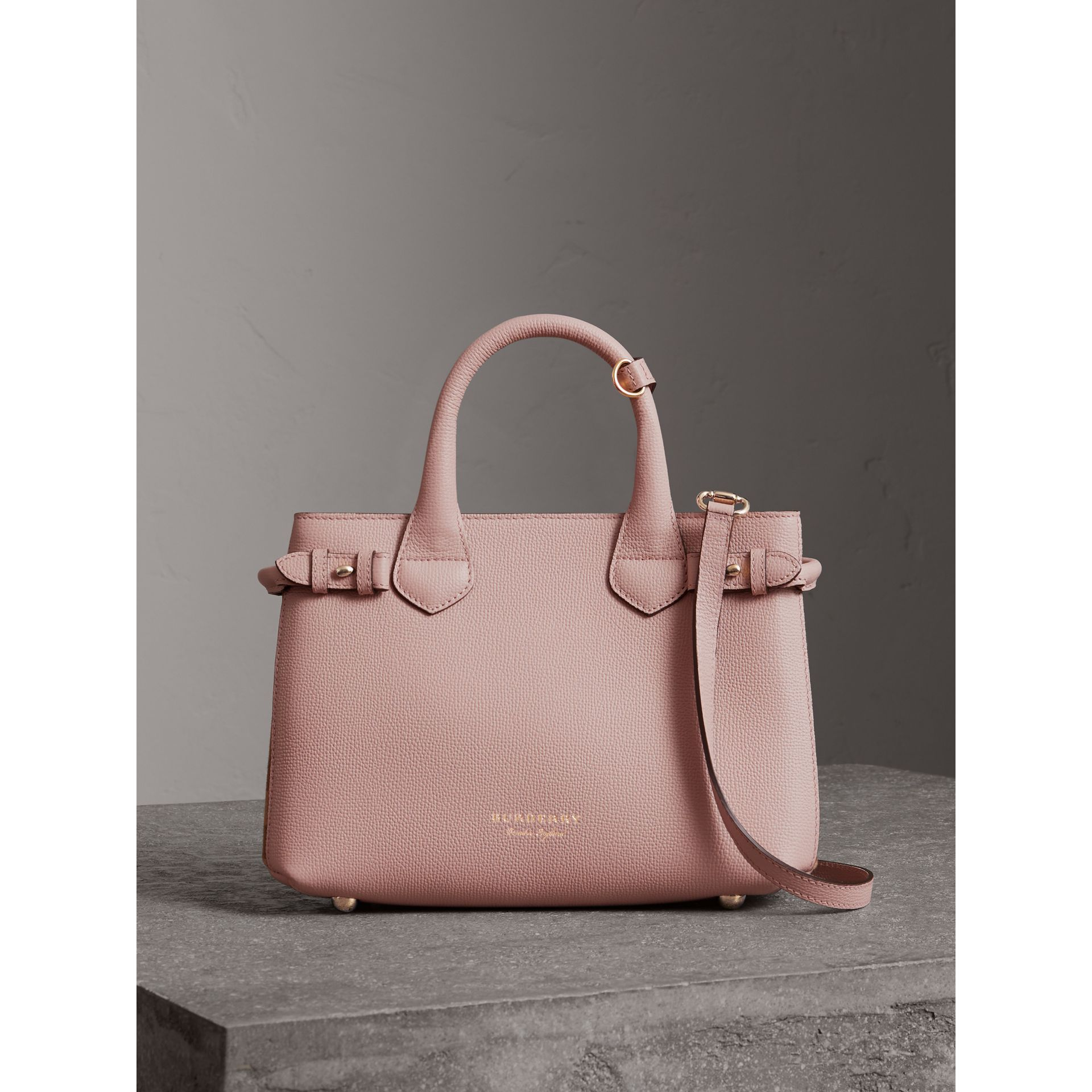 The Small Banner in Leather and House Check in Pale Orchid - Women | Burberry United Kingdom - gallery image 6