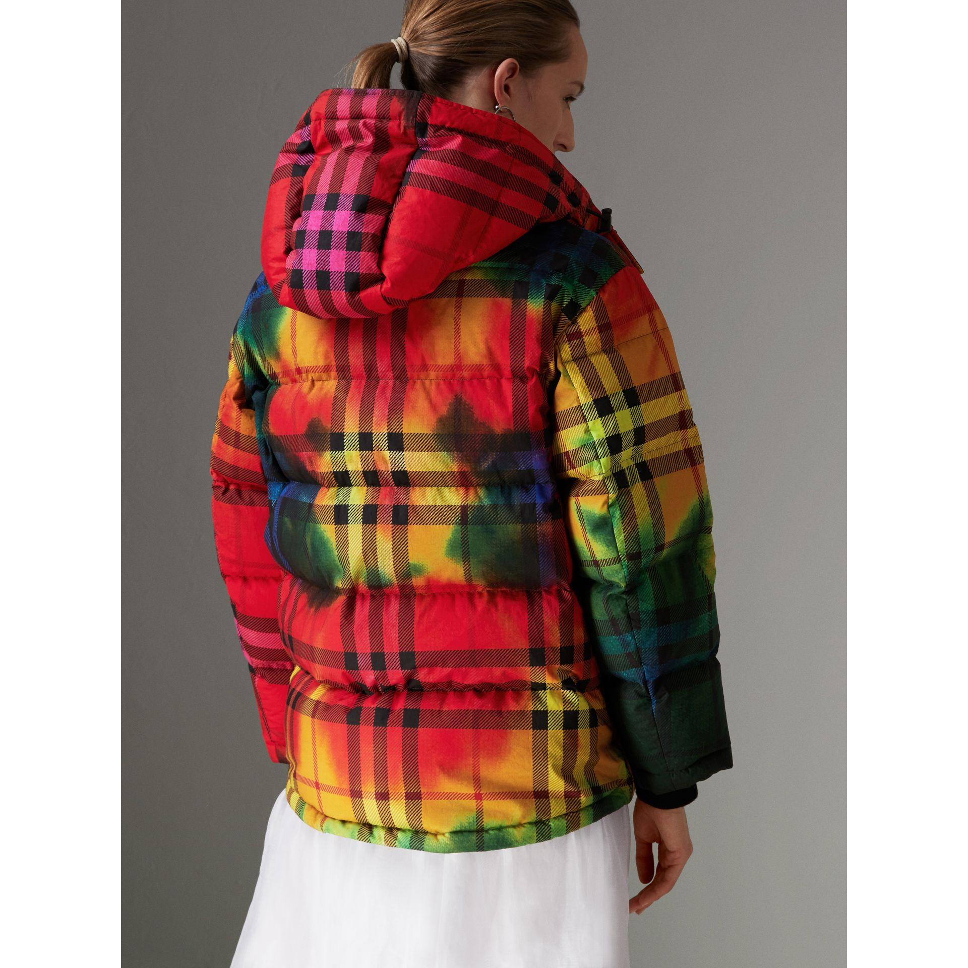 Tie-dye Print Vintage Check Puffer Jacket in Multicolour - Women | Burberry - gallery image 2