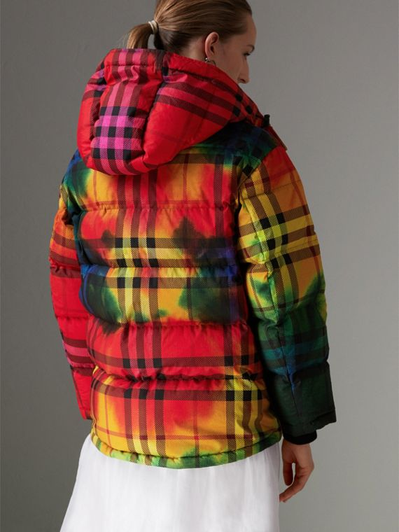 Tie-dye Print Vintage Check Puffer Jacket in Multicolour - Women | Burberry - cell image 2