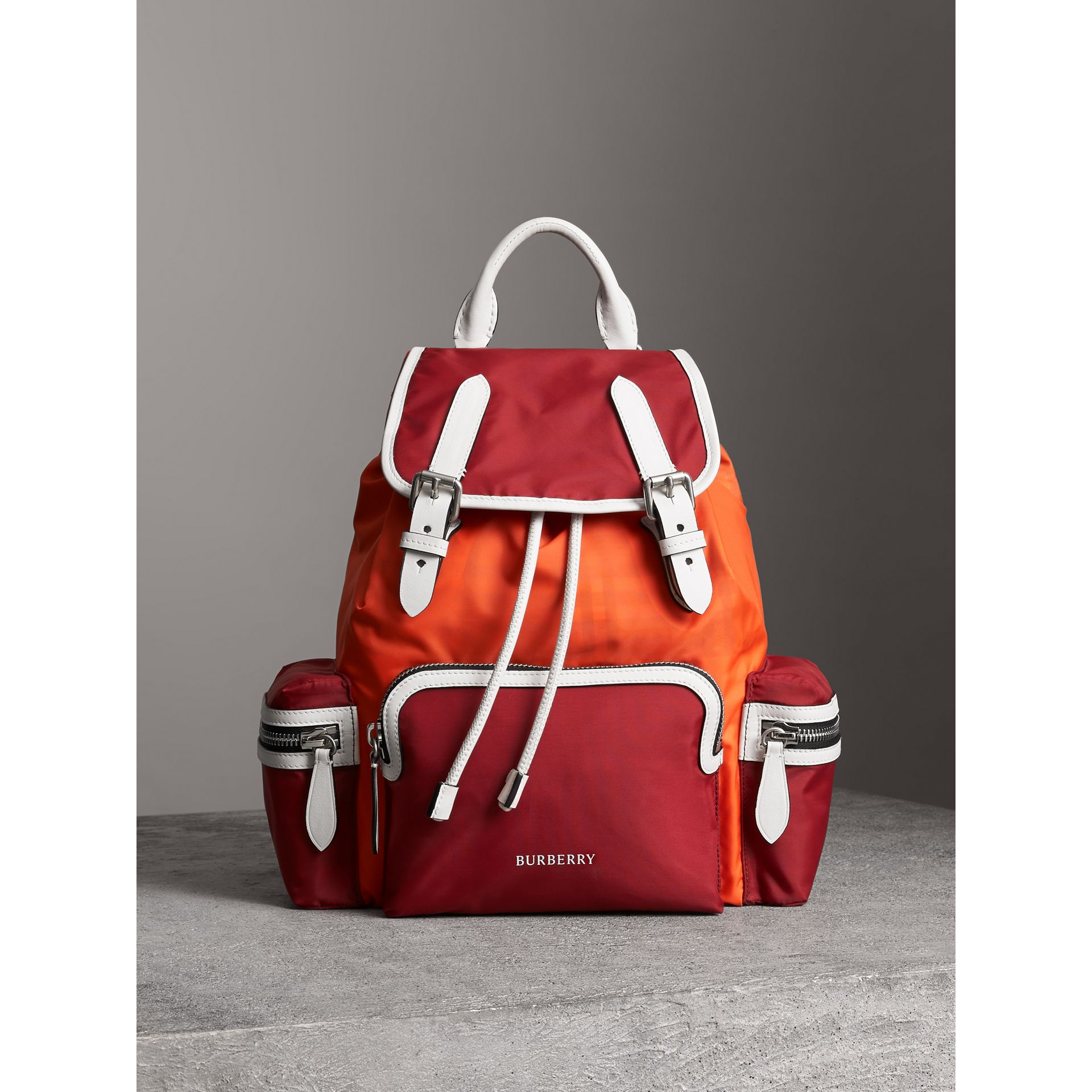 The Medium Rucksack in Colour Block Nylon and Leather in Parade Red - Women | Burberry - gallery image 7