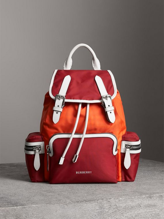 The Medium Rucksack in Colour Block Nylon in Parade Red
